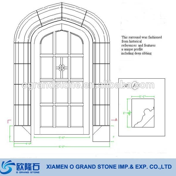 600x600 French Decorative Window Frames Natural Granite Stone Window Frame