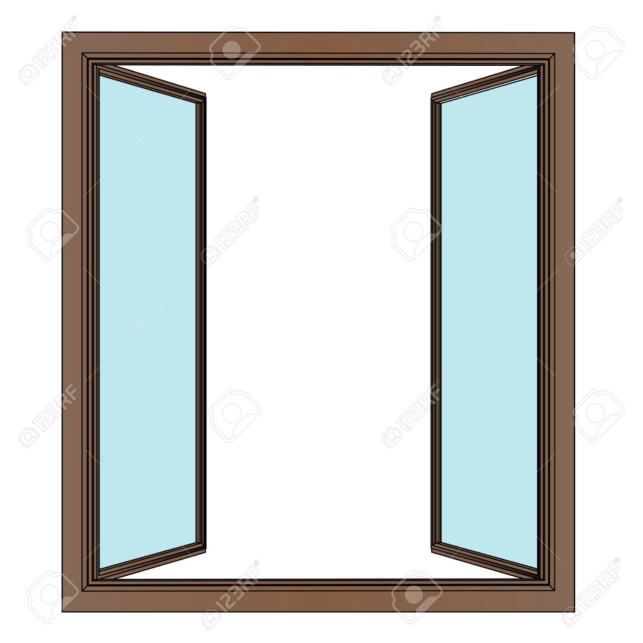 1299x1300 Opened Window To Interier Vector Drawing Illustration Royalty Free