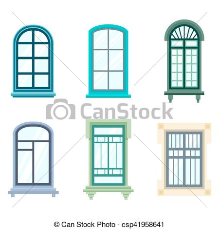 450x470 Set Of Isolated House Window Frames Wood Old Frame Eps