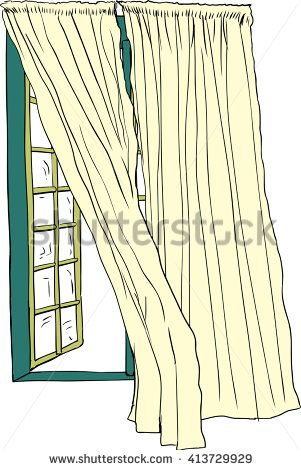 301x470 Front view on isolated hand drawn illustration of open casement