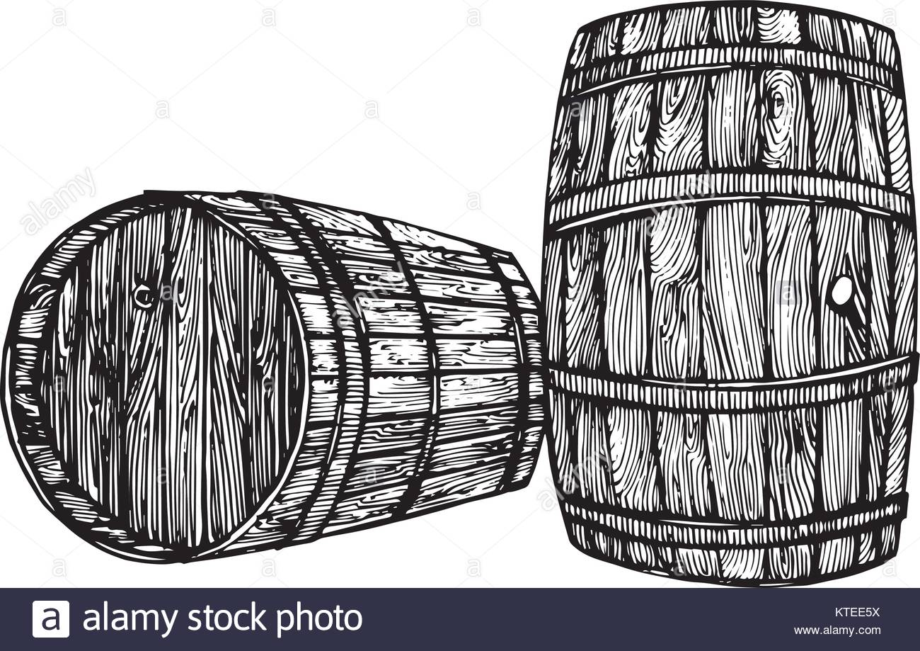 1300x919 Vector Hand Drawing Wine Barrel. Ink Drawn Wooden Barrel In Rustic