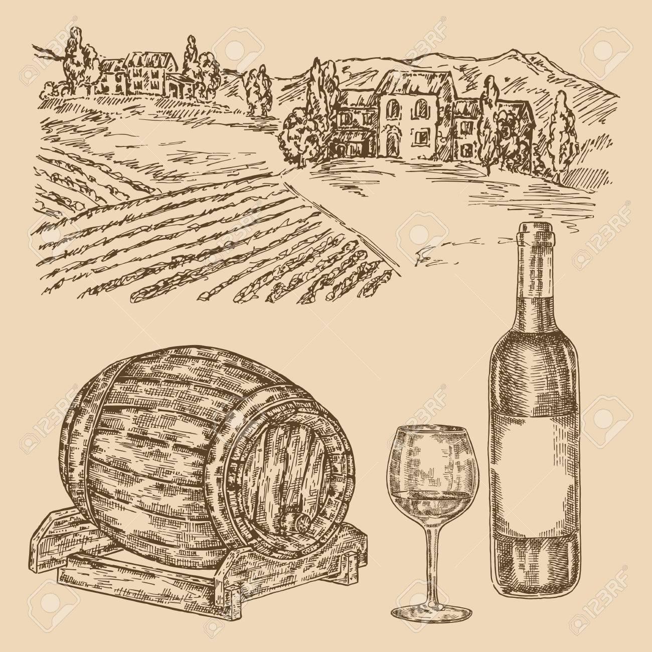 1300x1300 Wine Set. Hand Drawn Vineyad, Wine Barrel And Bottle Of Wine