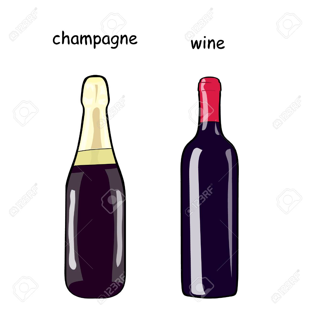 1300x1300 A Bottle Of Wine And A Bottle Of Champagne. Set Of Bottles