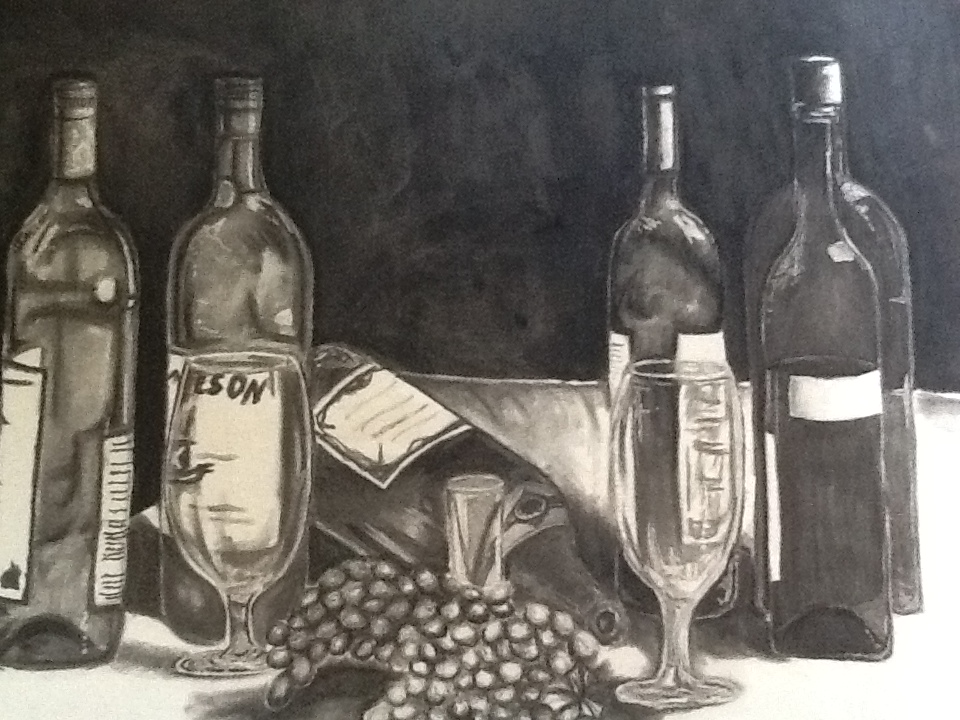 960x720 A Night Out Drawing Of Wine Bottles