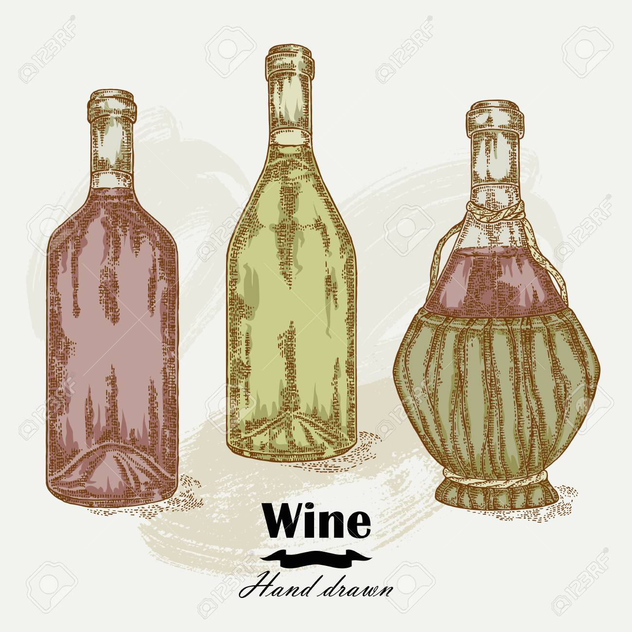 1300x1300 Hand Drawn Wine Bottles Vintage. Vector Sketch Royalty Free