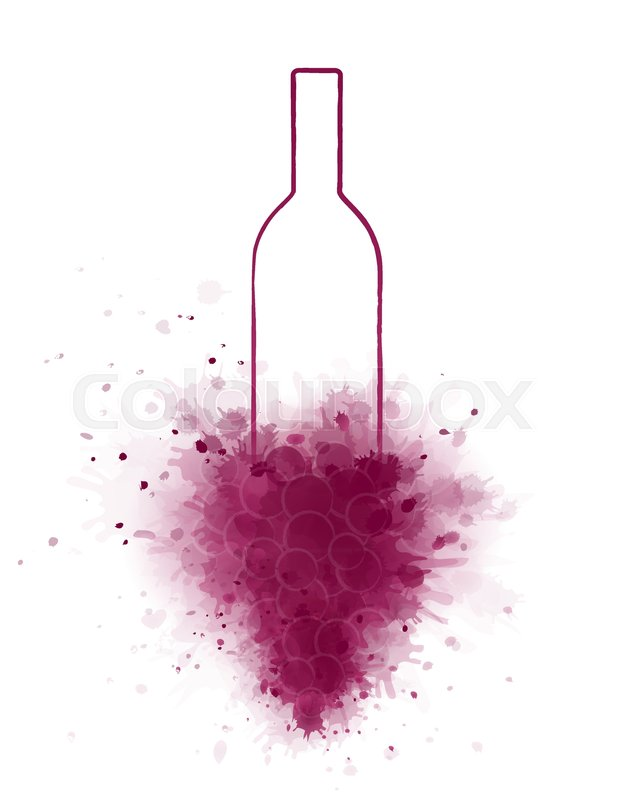 618x800 Hand Drawing Wine Bottle And Abstract Grapes Silhouette Stock