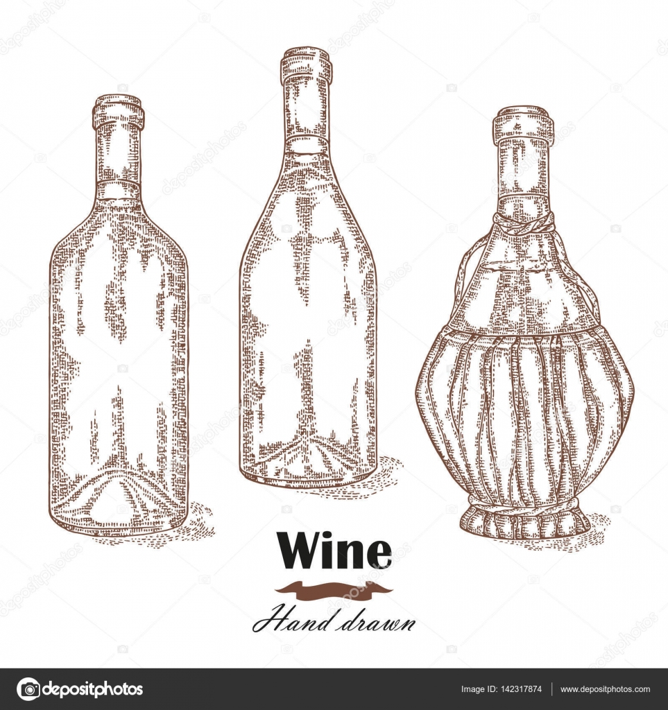 963x1024 Hand Drawn Wine Bottles Vintage. Vector Sketch Stock Vector