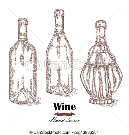 450x470 Hand Drawn Wine Bottles Vintage. Vector Sketch Clip Art Vector