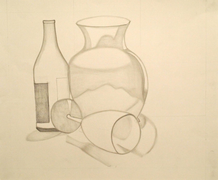 900x741 The Vase And Wine Bottle Drawing By Teri Schuster