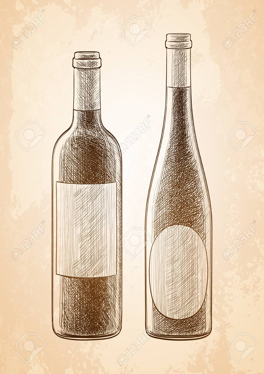 917x1300 Wine Bottles Skatch On Old Paper Background. Hand Drawn Vector