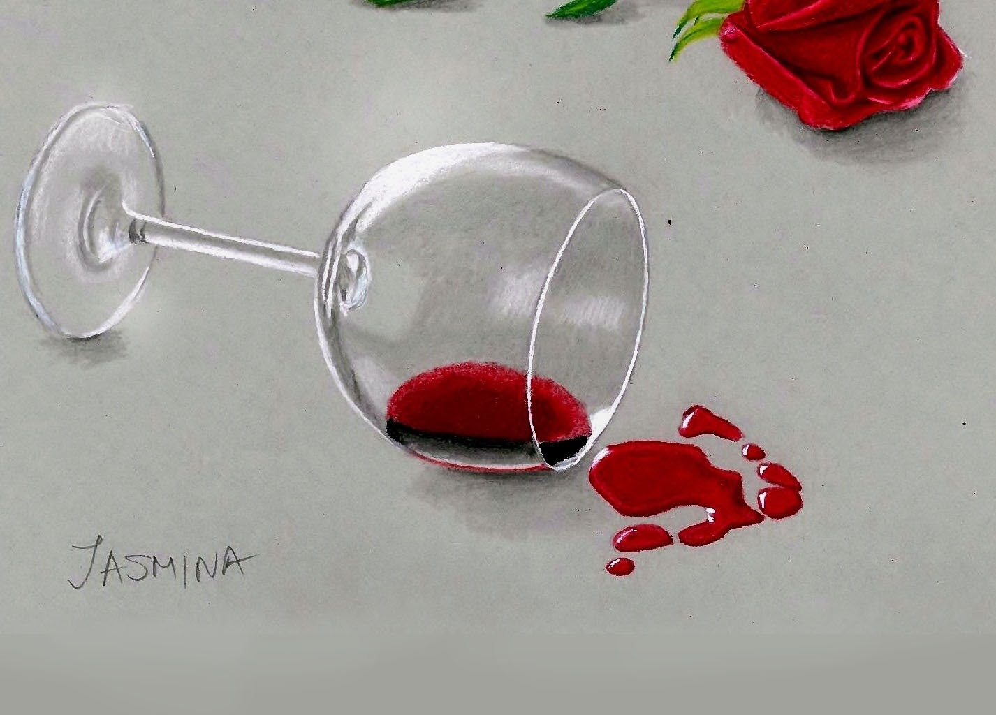 1426x1024 Speed Drawing Wine Glass And Red Rose In Colored Pencil Jasmina