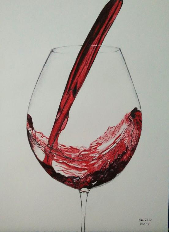 552x756 Ballpoint Pen Wine Glass Drawing