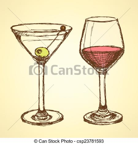 450x470 Sketch Martini And Wine Glass In Vintage Style, Vector Eps Vectors