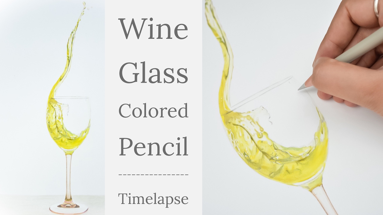 1280x720 Timelapse Drawing Wine Glass With Colored Pencil Faber