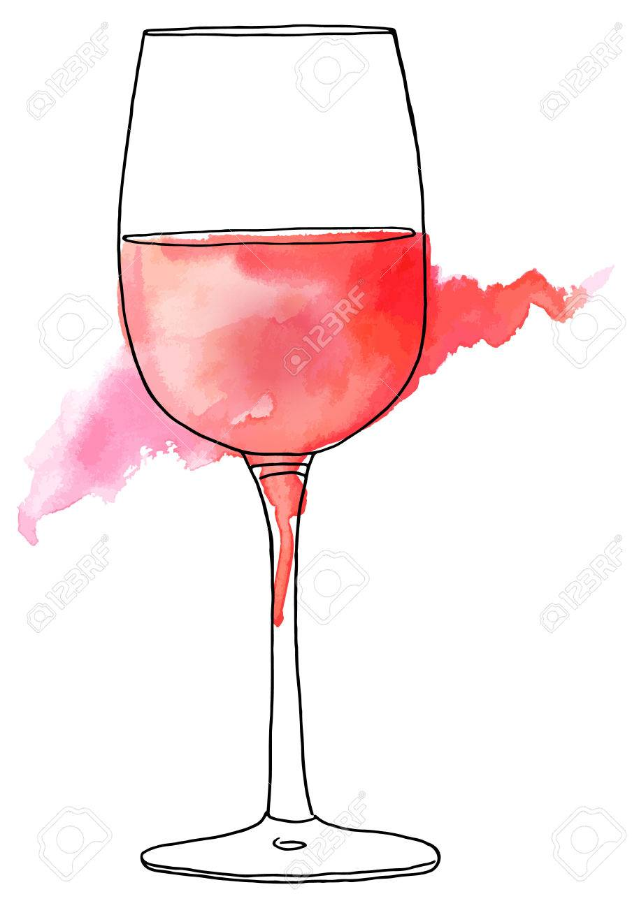 904x1300 Vector And Watercolor Drawing Of Glass Of Rose Wine Royalty Free