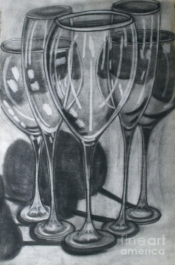 594x900 Wine Glasses Drawing By Cecilia Stevens