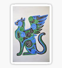 210x230 Winged Cat Drawing Stickers Redbubble