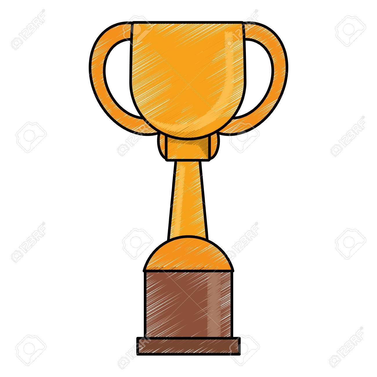 1300x1300 Drawing Winner Cup Trophy Prize Golden Vector Illustration Eps