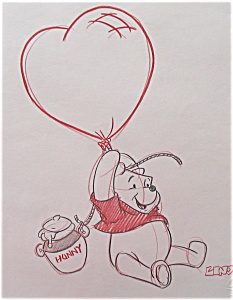 233x300 Pooh And Hunny Pot Original Drawing, Disney World (Winnie