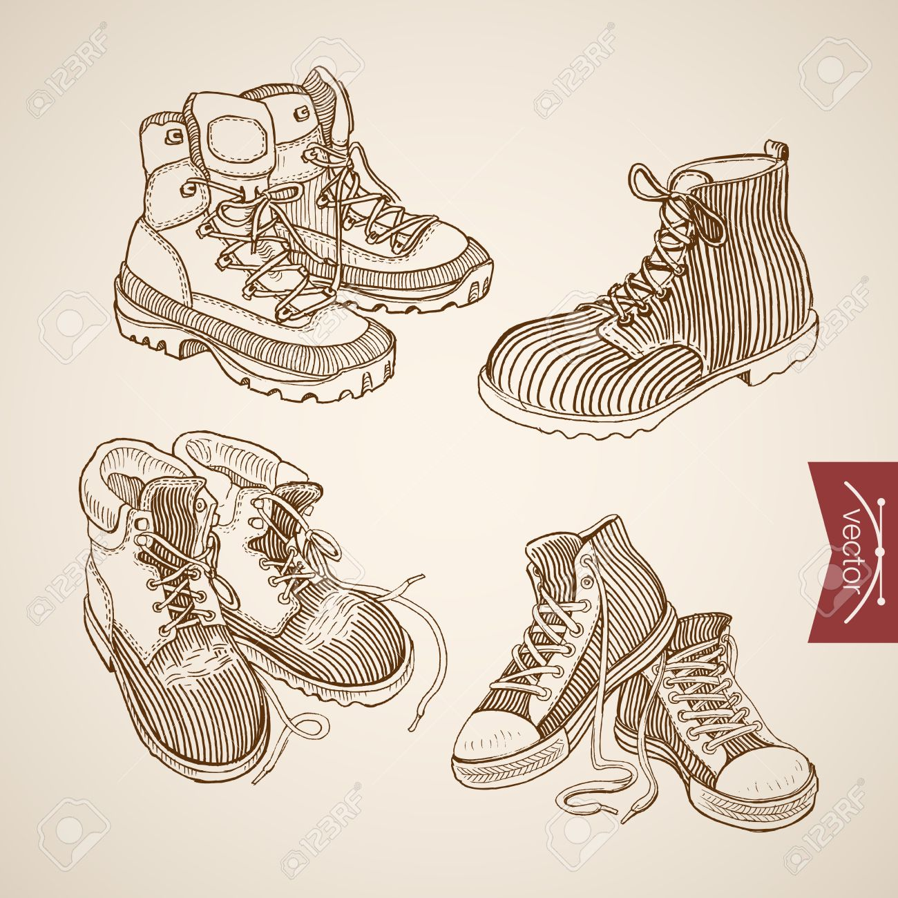 1300x1300 Engraving Vintage Hand Drawn Lacing Sport Shoes And Winter Boots