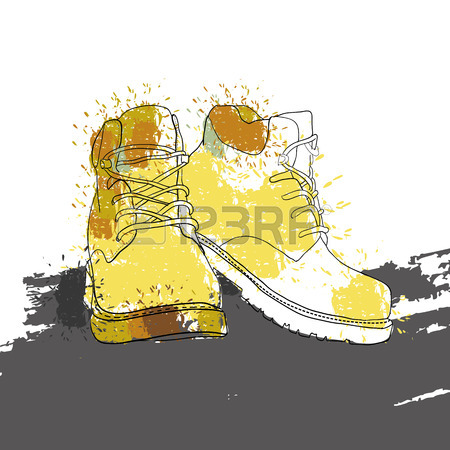 450x450 Vector Illustration Of Hand Drawn Graphic Men Winter Boots, Shoes