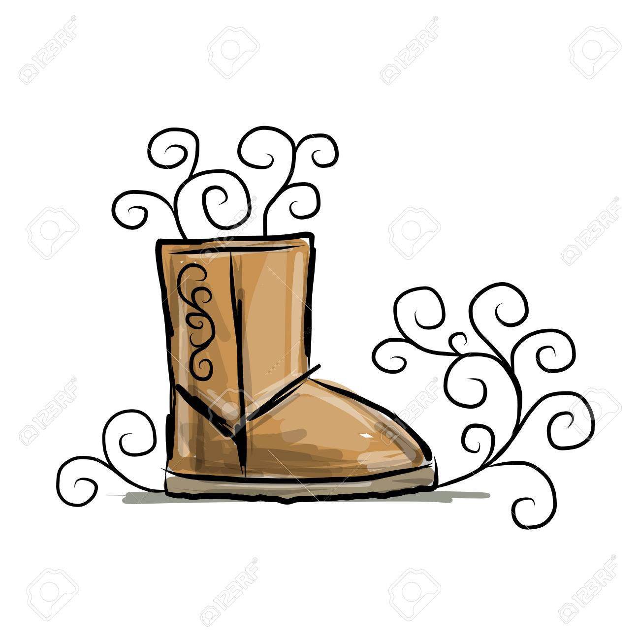1300x1300 Winter Boots Ugg, Sketch For Your Design Royalty Free Cliparts