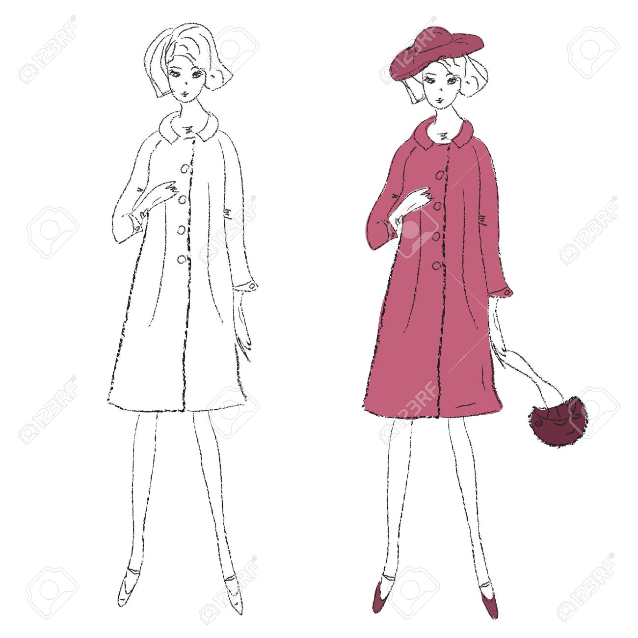 1300x1300 Fashion Girl In Winter Coat Sketch Royalty Free Cliparts, Vectors