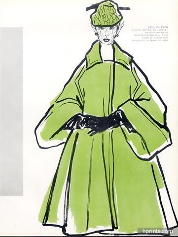 361x480 Jacques Fath 1951 Winter Coat Durani Fashion Illustration