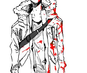 300x250 Man In Winter Coat Covered In Splattered Blood Drawception