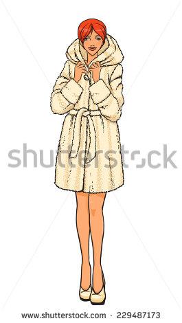 265x470 Girl Big Coat Drawing Watercolor