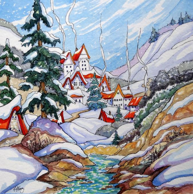 675x680 A Winter Village. Life People. Drawings. Pictures. Drawings Ideas