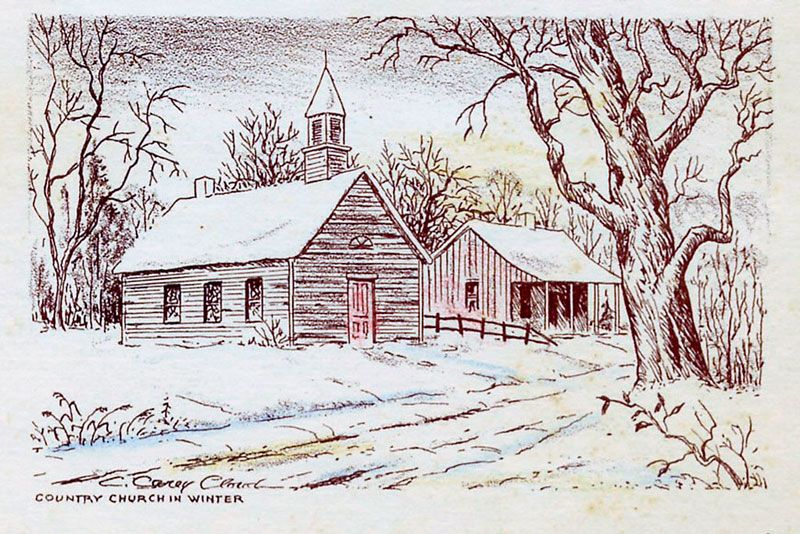 800x534 Country Church Drawing Carey Cloud Drawings Country Church