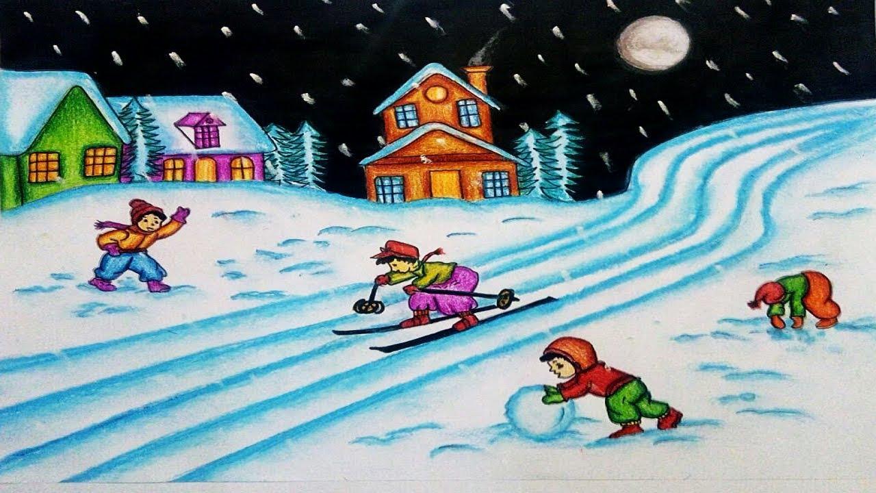 1280x720 How To Draw Winter Season Scenery Step By Step