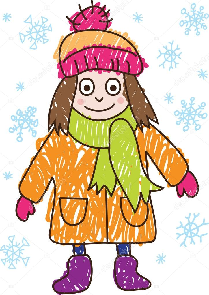 724x1023 Kids Drawing. Girl In The Winter Stock Vector Primovich