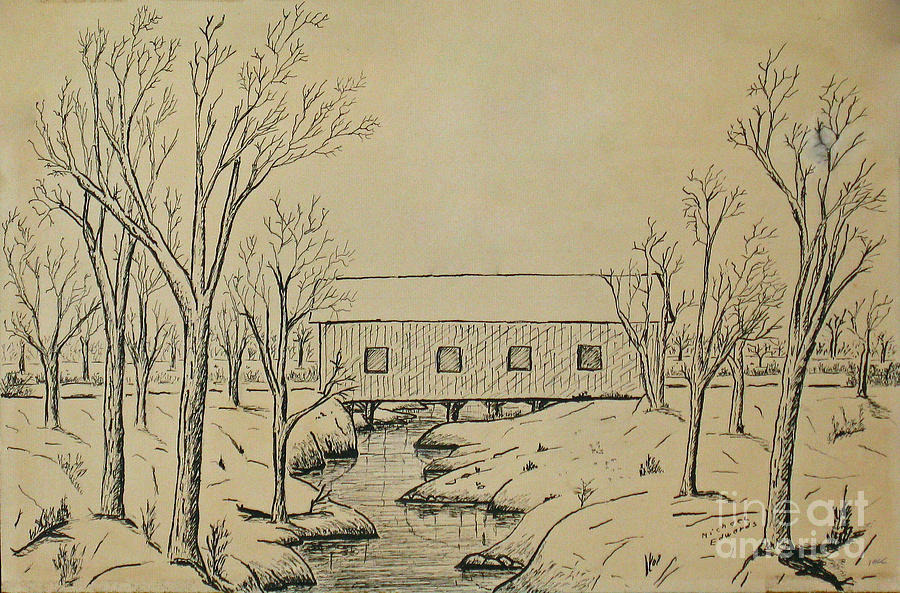 900x593 Winter Landscape In Ink Drawing By Michael Anthony Edwards