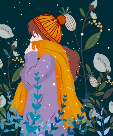 390x468 Winter Drawing Girl In Warm Clothes Colored Cartoon Vectors Stock