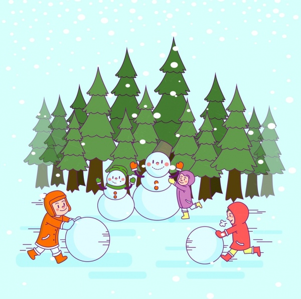 600x595 Winter Drawing Playful Kid Outdoor Snowman Colored Cartoon Free