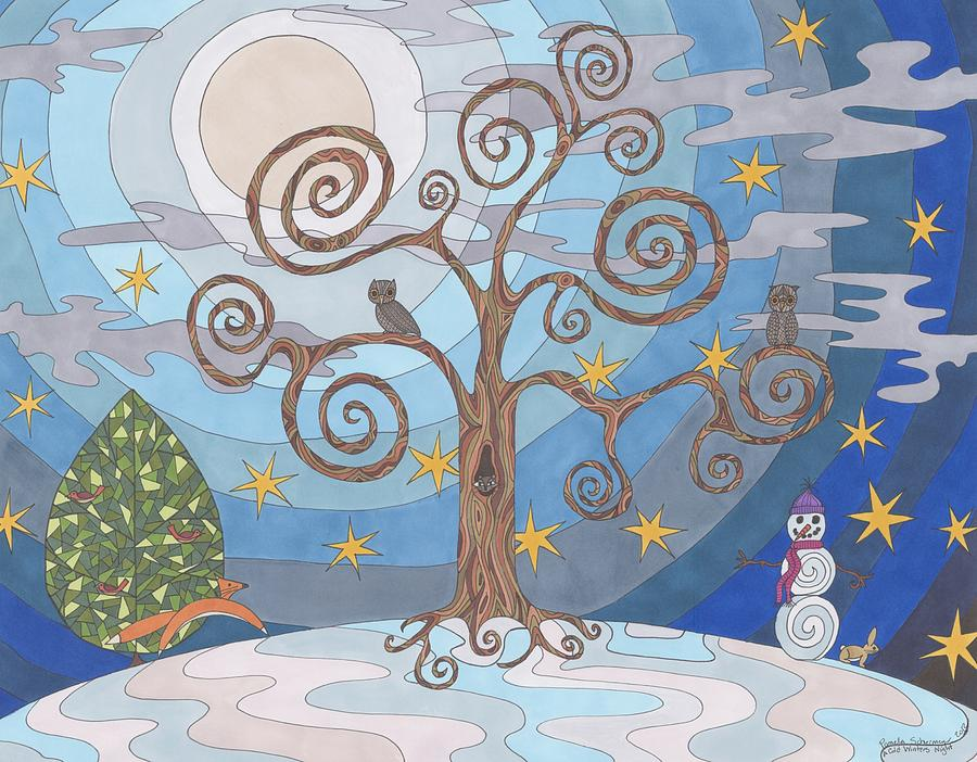 900x702 A Cold Winters Night Drawing By Pamela Schiermeyer