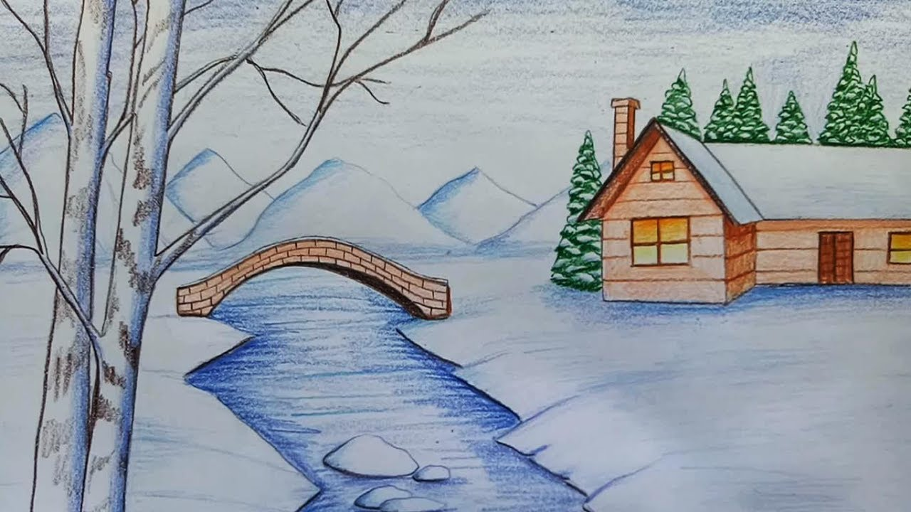1280x720 How To Draw Snowfall Scenery Step By Step