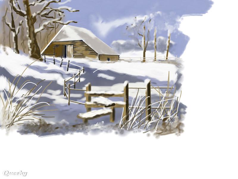 800x600 My Snow Scene A Landscape Speedpaint Drawing By Harley