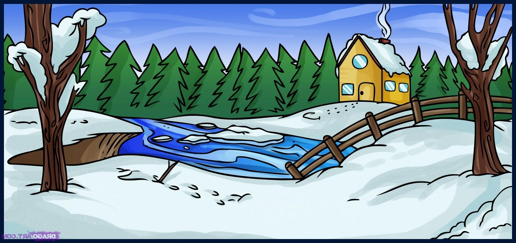 1698x800 Winter Landscape Drawing For Kids How To Draw A Winter Scene, Step