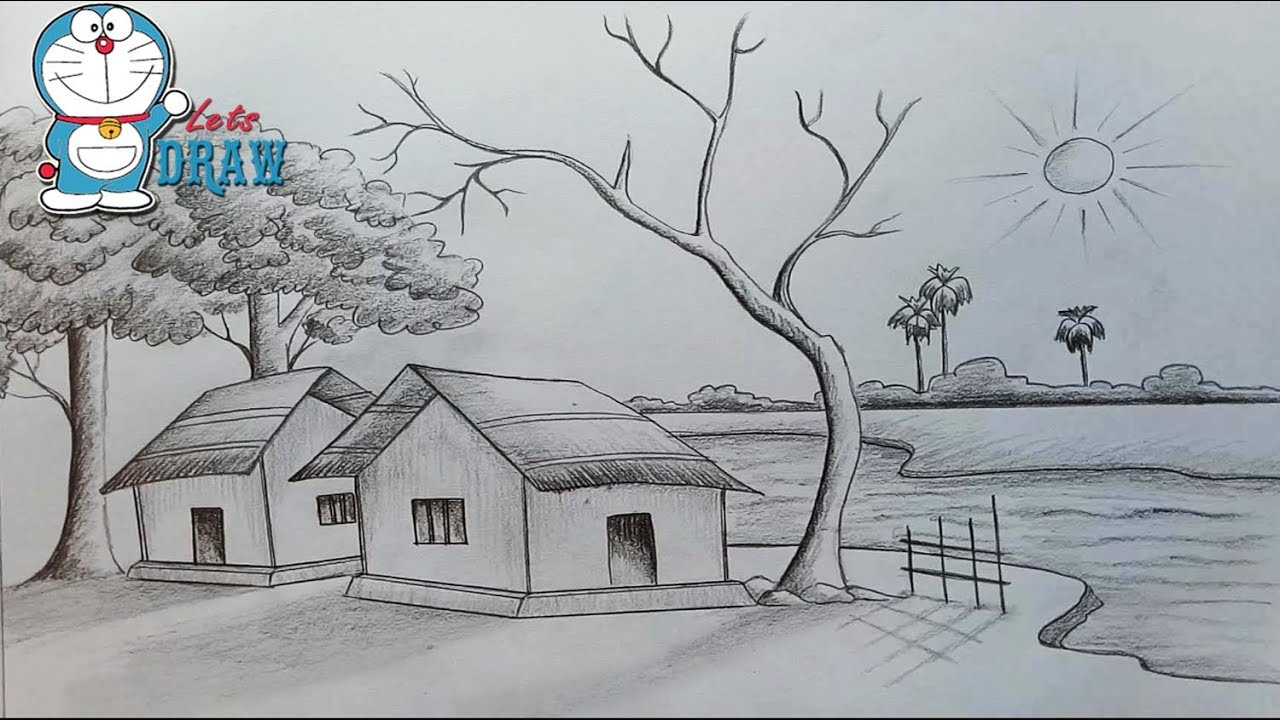 1280x720 Village Scenery Pencil Drawing Village Scenery Pencil Drawing Easy