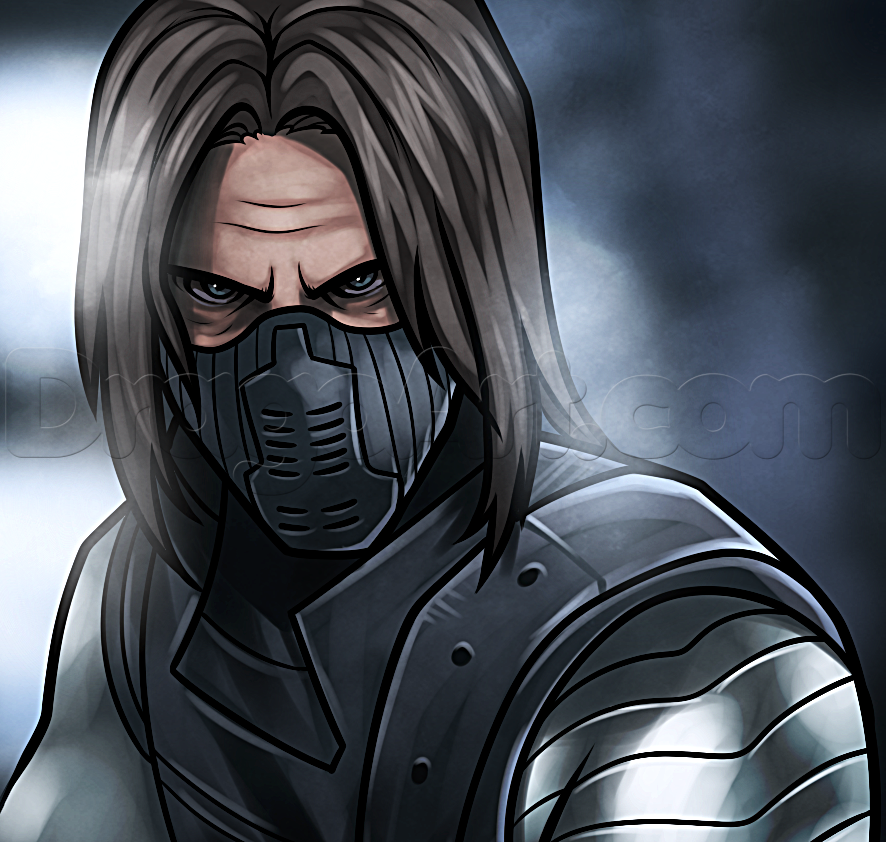 886x842 How To Draw The Winter Soldier, Step By Step, Marvel Characters