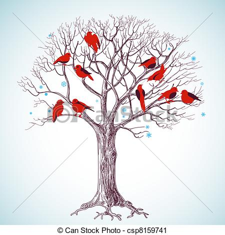 450x470 Winter Tree And Singing Birds Vector Clip Art