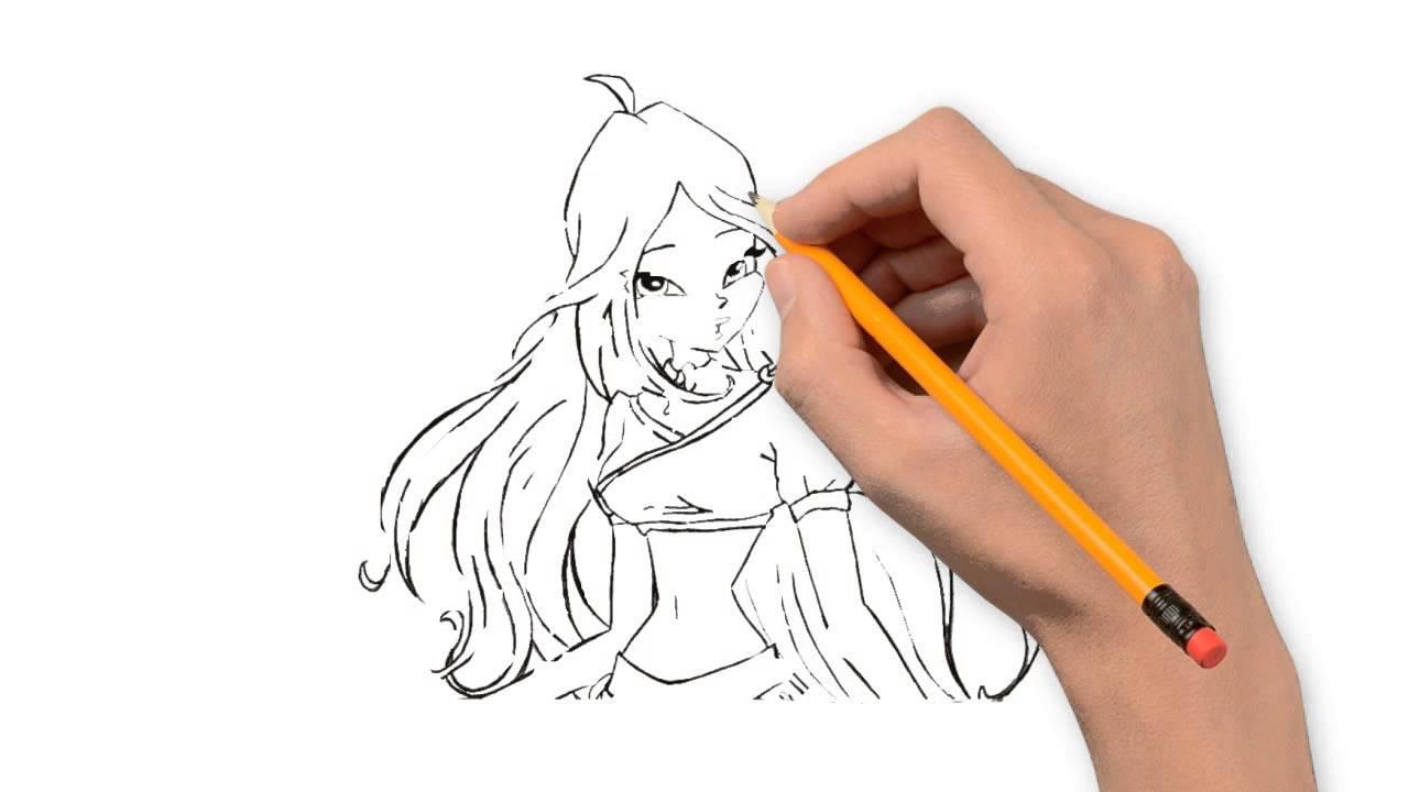 1280x720 Winx Flora The Winx Club Pencil To Draw Step By Step