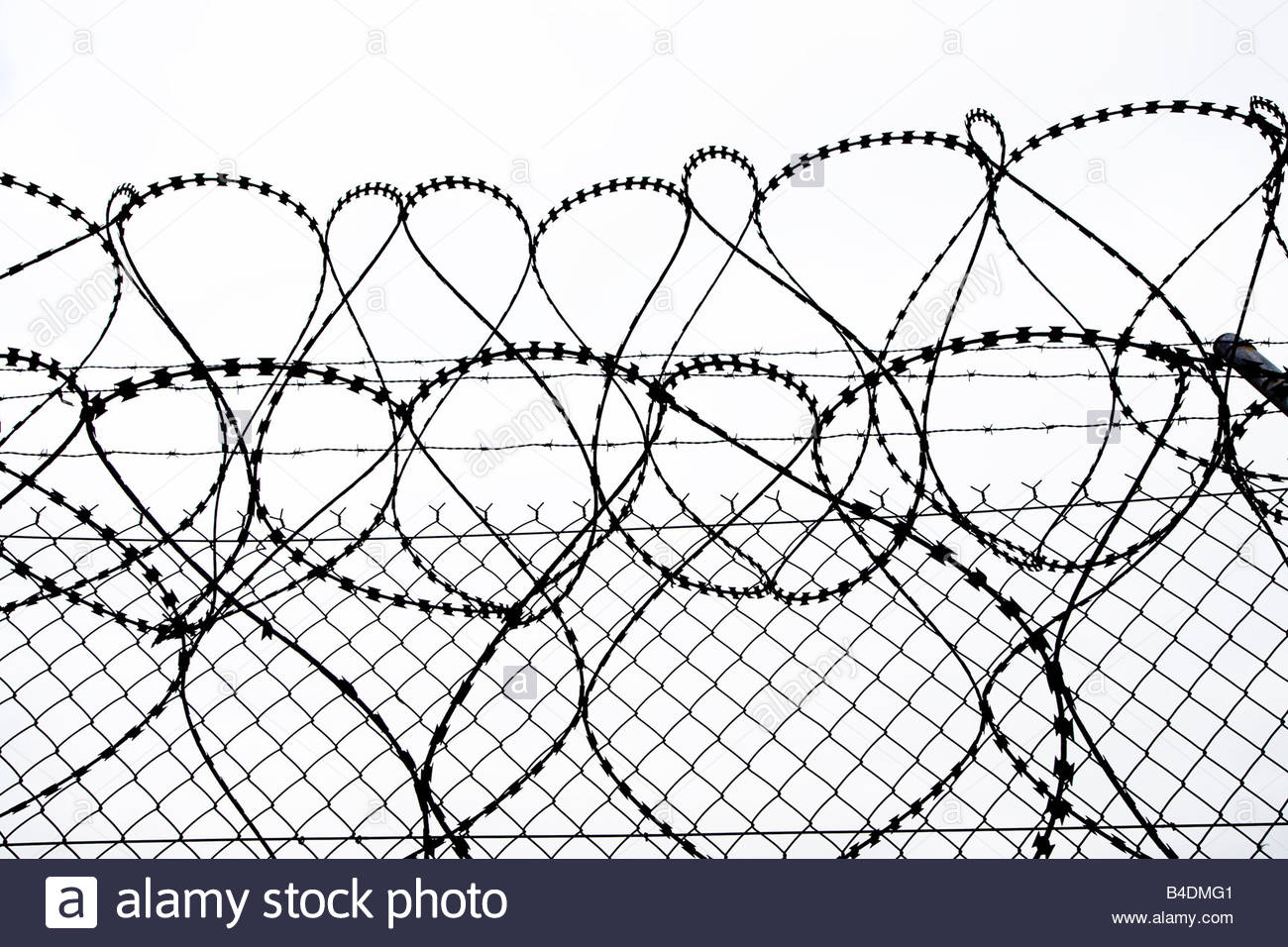 1300x956 Razor Wire And Fence Silhouette Uk Stock Photo 19970497