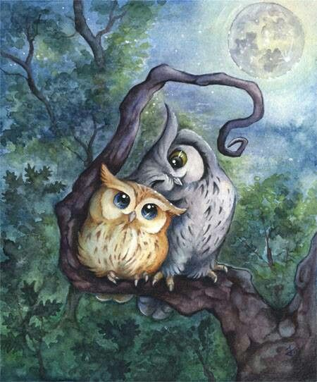 450x542 Two Wise Owls Under The Beautiful Full Moon. Whoever Drew