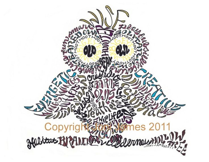 736x569 Wise Owl Drawing Word Art Pen And Ink By Calligramorama On Etsy