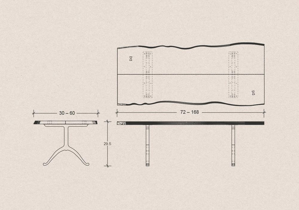 1000x703 Single Slab Live Edge Table, Walnut Hardwood With Brass Wishbone