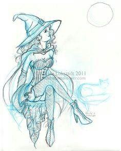236x295 How To Draw A Witch Broom Step 6 Draw Witch Witch